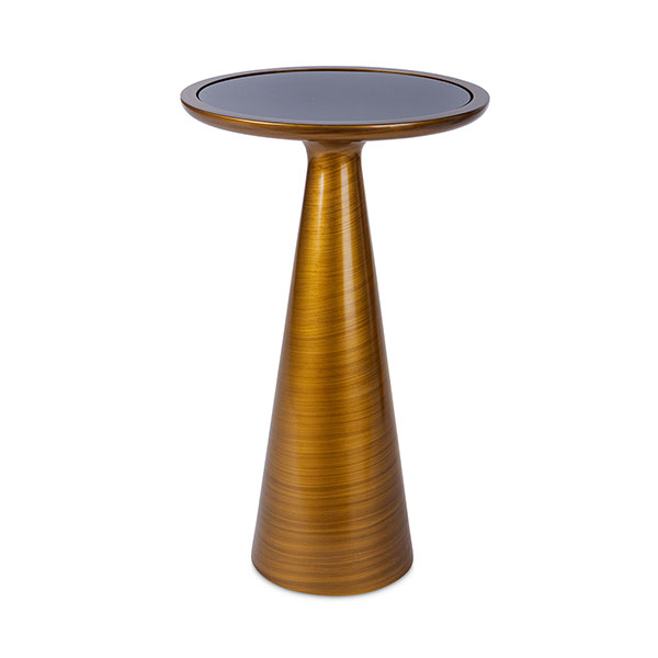 WC1824 Round Metal Table with Smoked Black Mirror