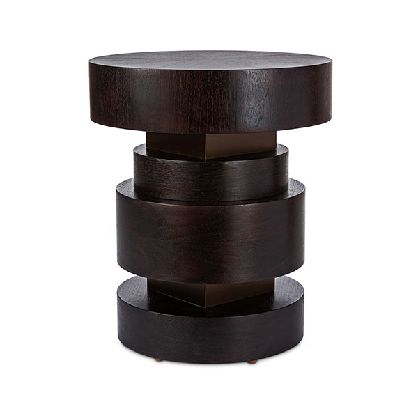WC1720 Walnut Round Accent Table with Bronze Metal Accent